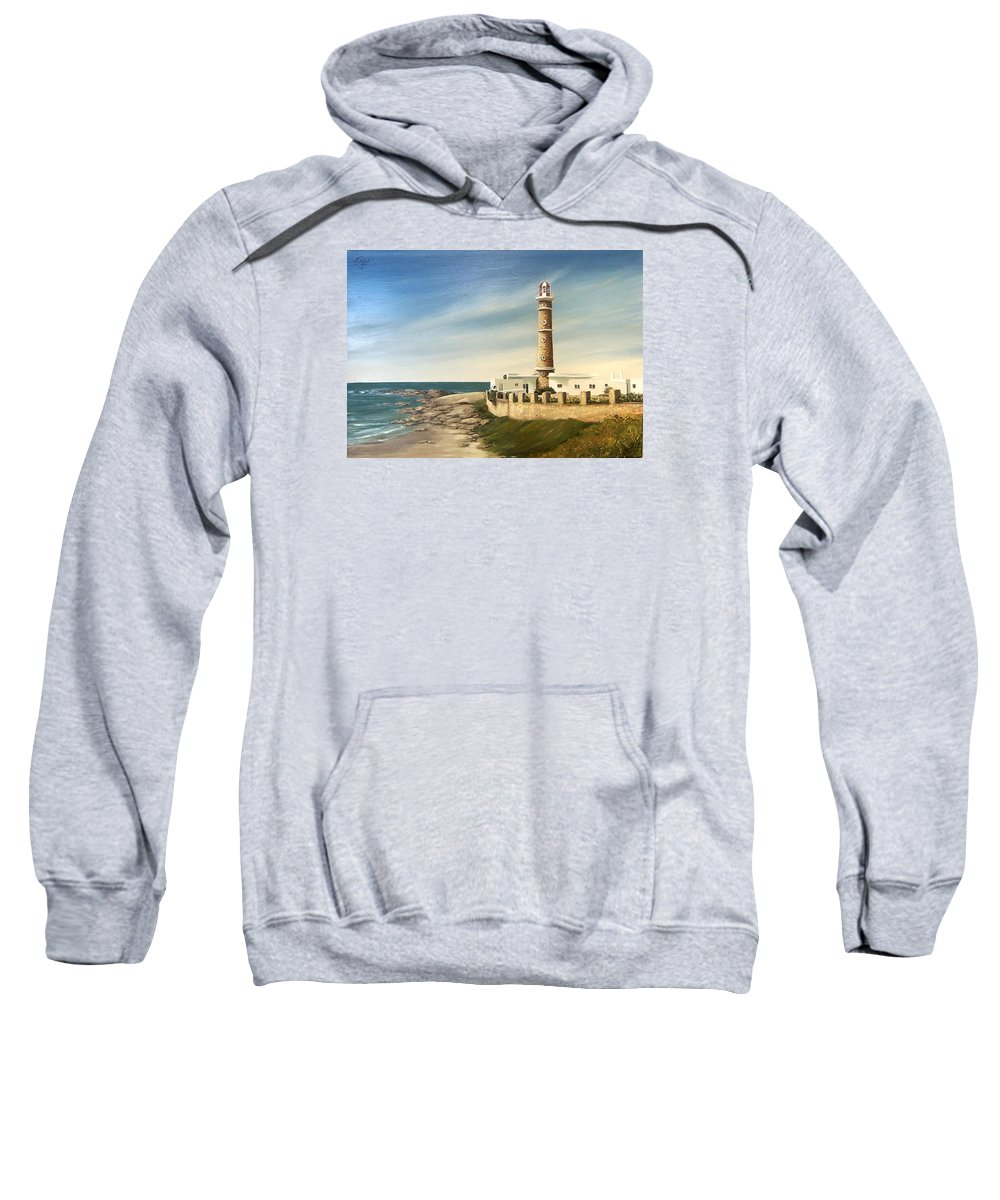 Landscape Seascape Lighthouse Uruguay Beach Sea Water Sweatshirt featuring the painting Jose Ignacio Lighthouse Evening by Natalia Tejera
