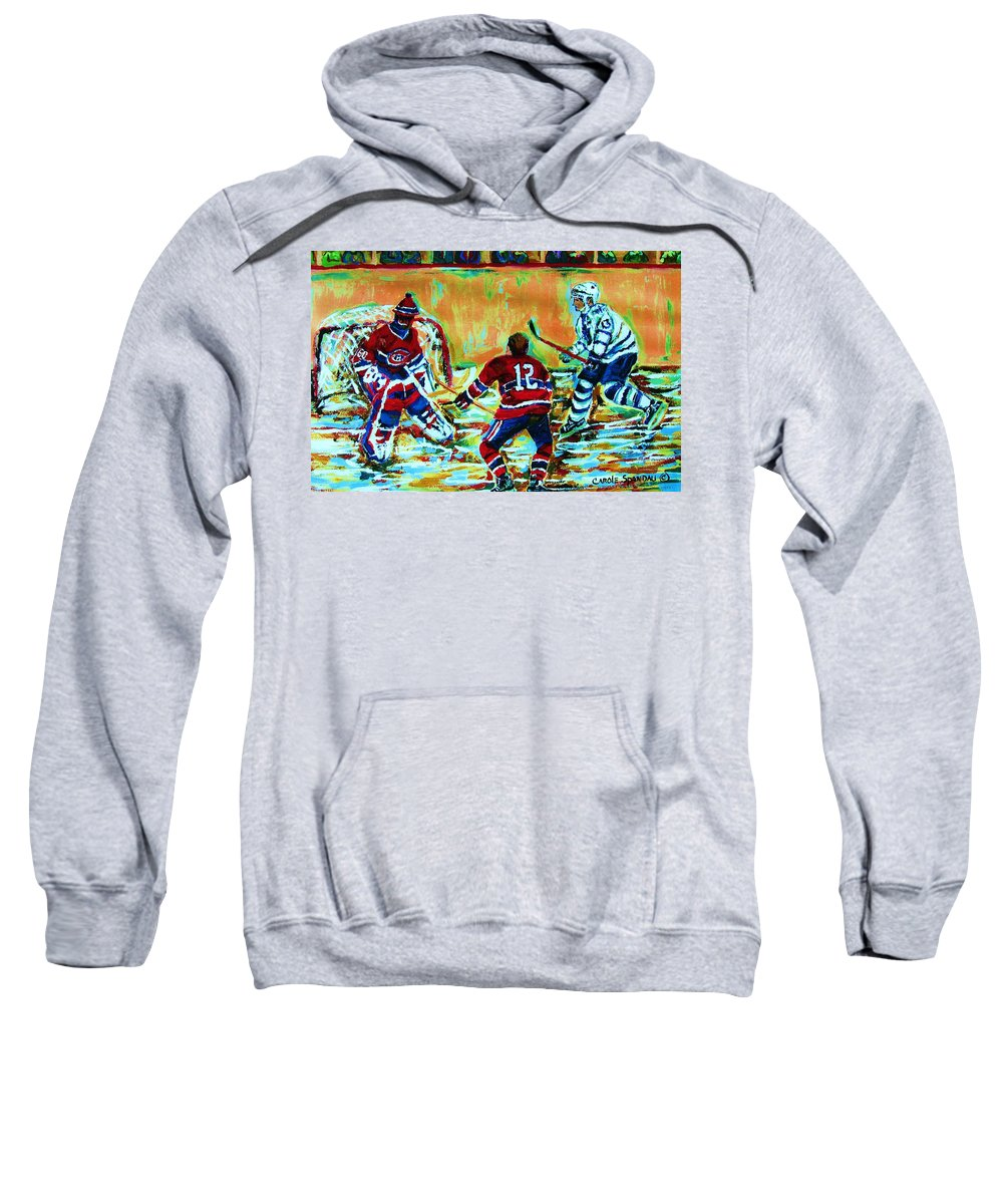 Hockey Canvas Prints Sweatshirt featuring the painting Jose Theodore The Goalkeeper by Carole Spandau