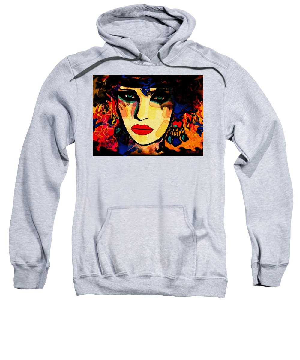 Woman Sweatshirt featuring the mixed media Josephine by Natalie Holland