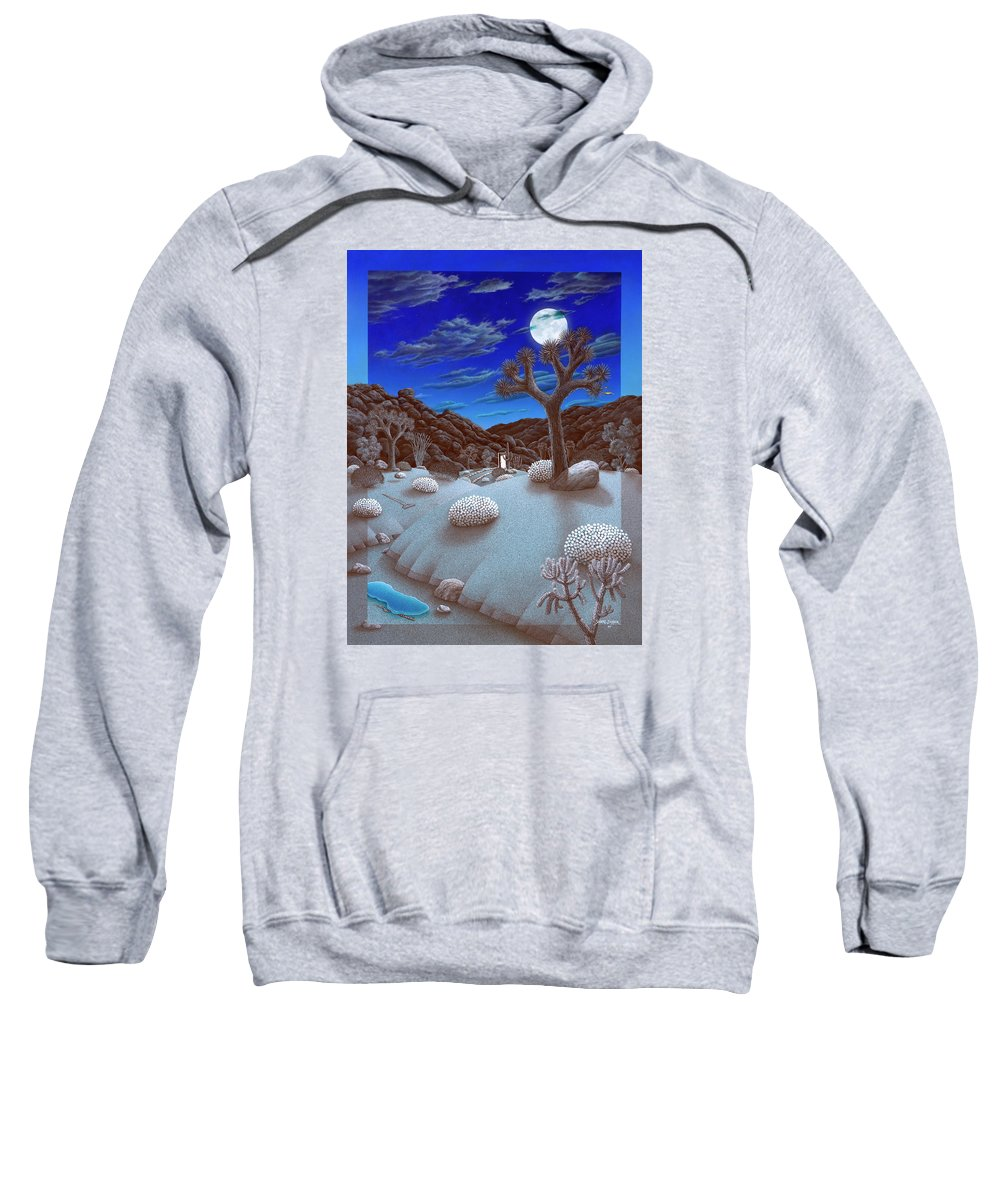 Landscape Sweatshirt featuring the painting Joshua Tree At Night by Snake Jagger