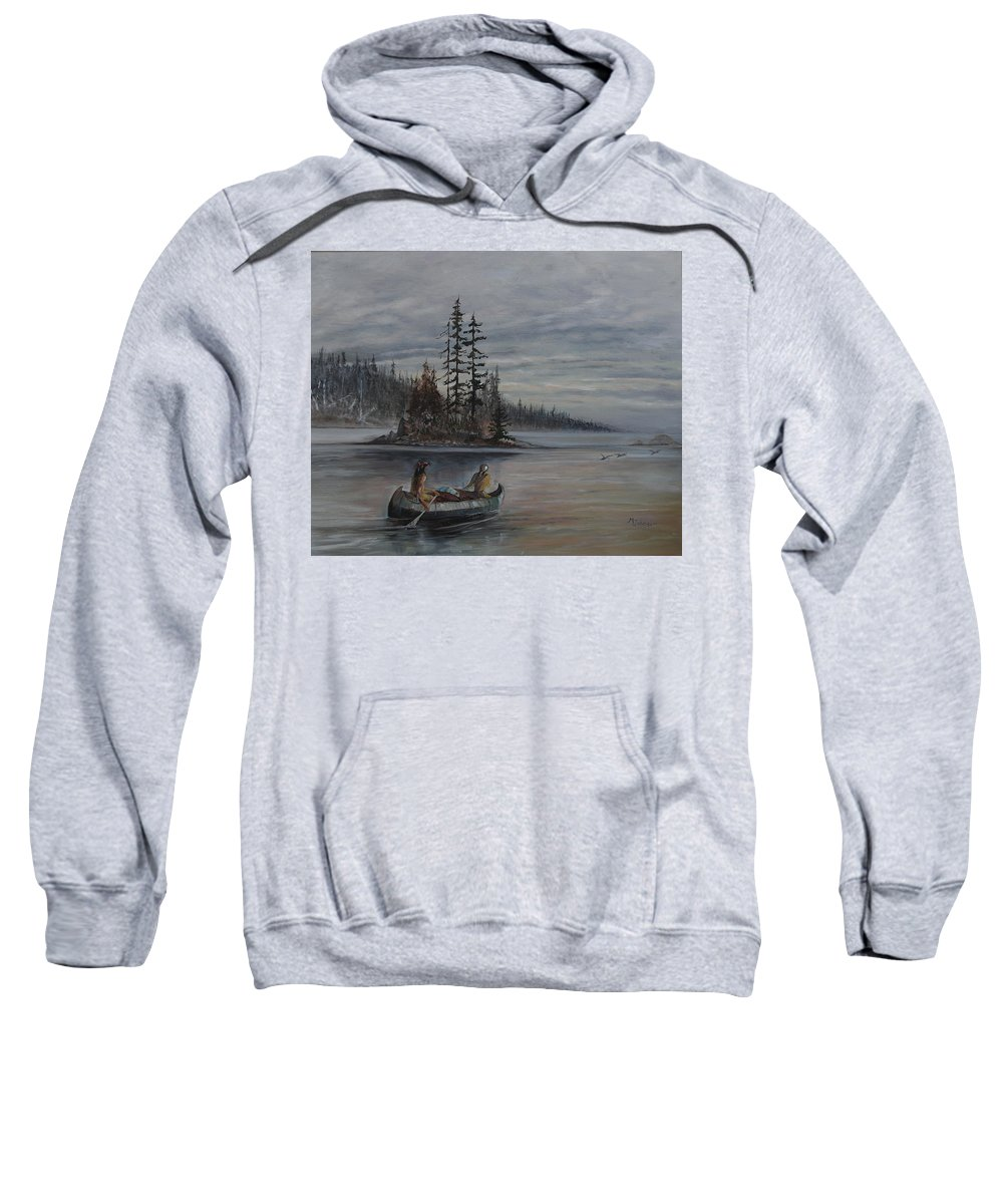 First Nation Sweatshirt featuring the painting Journey - Lmj by Ruth Kamenev