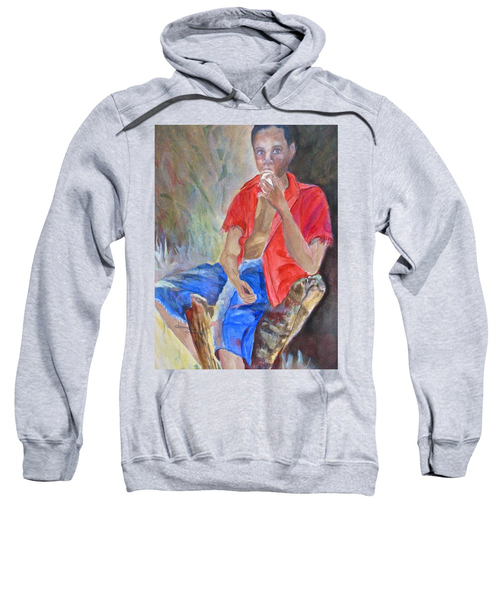 Islnd Boy Sweatshirt featuring the painting Journey Cake by Donna Steward