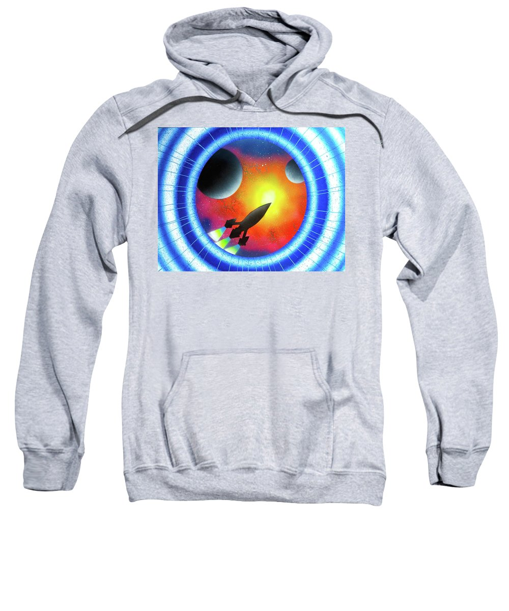 Portal Sweatshirt featuring the painting Journey To The Future by Drew Goehring
