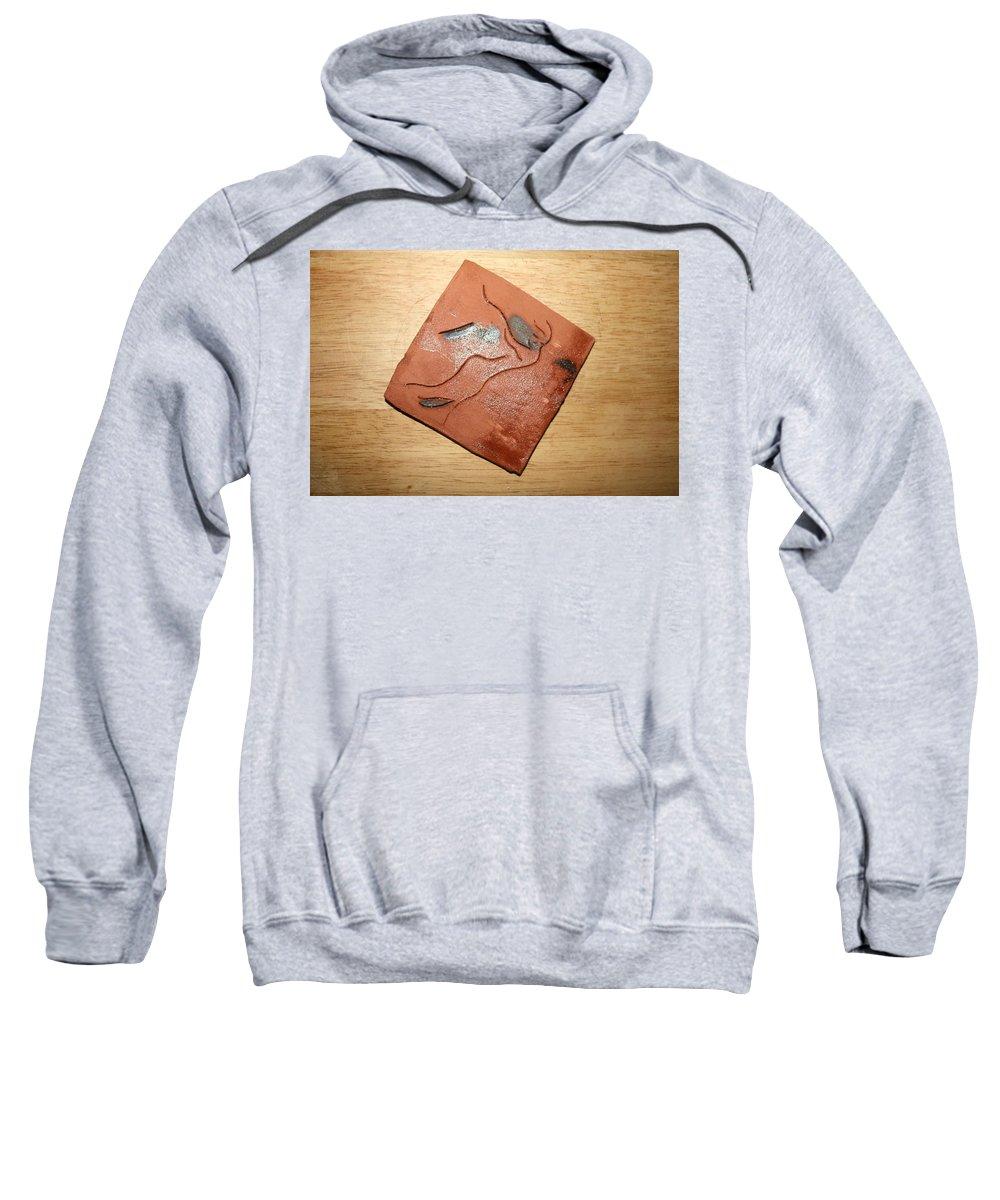 Jesus Sweatshirt featuring the ceramic art Journeys - Fleeing 24 - Tile by Gloria Ssali