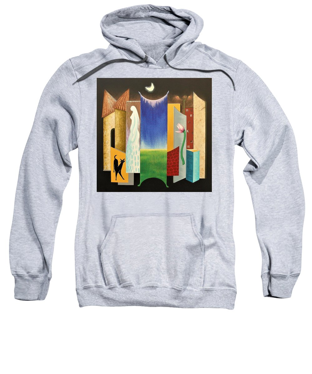 Romantic Sweatshirt featuring the painting Journy -13 by Raju Bose