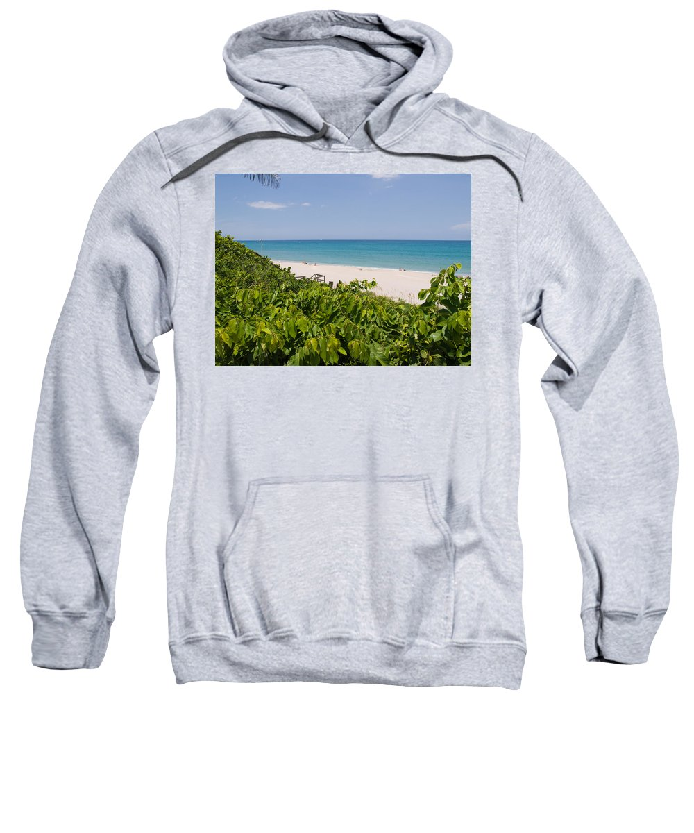 Juno; Florida; Loxahatchee; River; Jupiter; Inlet; Swim; Swimming; Children; Girl; Boy; Woman; Man; Sweatshirt featuring the photograph Juno Beach In Florida by Allan Hughes