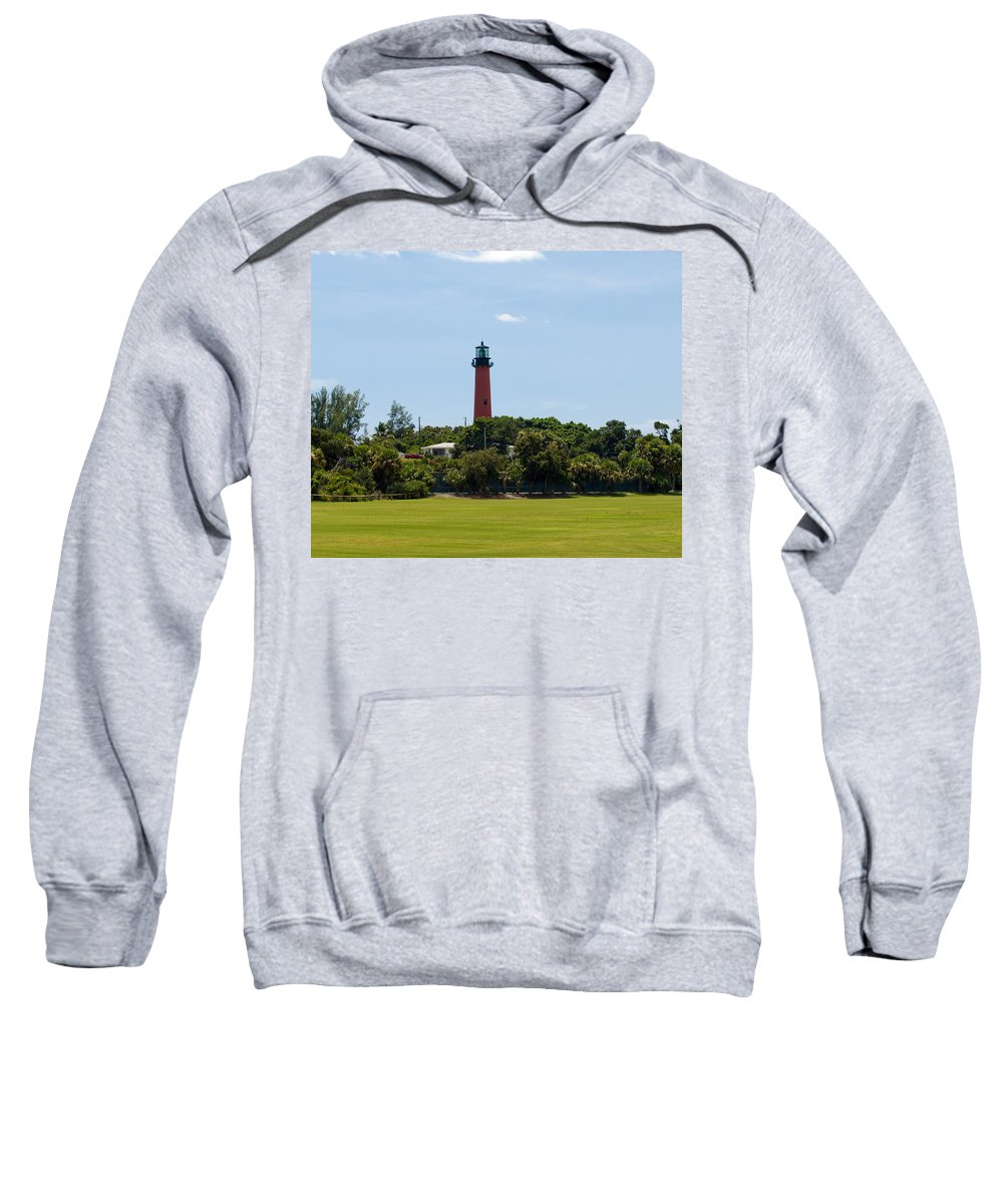 Florida; Juptier; Inlet; Loxahatchee; River; Atlantic; Coast; Shore; Beach; Light; Lighthouse; Beaco Sweatshirt featuring the photograph Jupiter Inlet Lighthouse by Allan Hughes