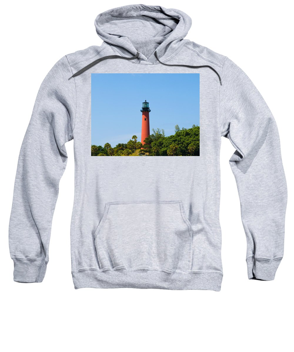 Florida; Juptier; Inlet; Loxahatchee; River; Atlantic; Coast; Shore; Beach; Light; Lighthouse; Beaco Sweatshirt featuring the photograph Jupiter Light In Florida by Allan Hughes