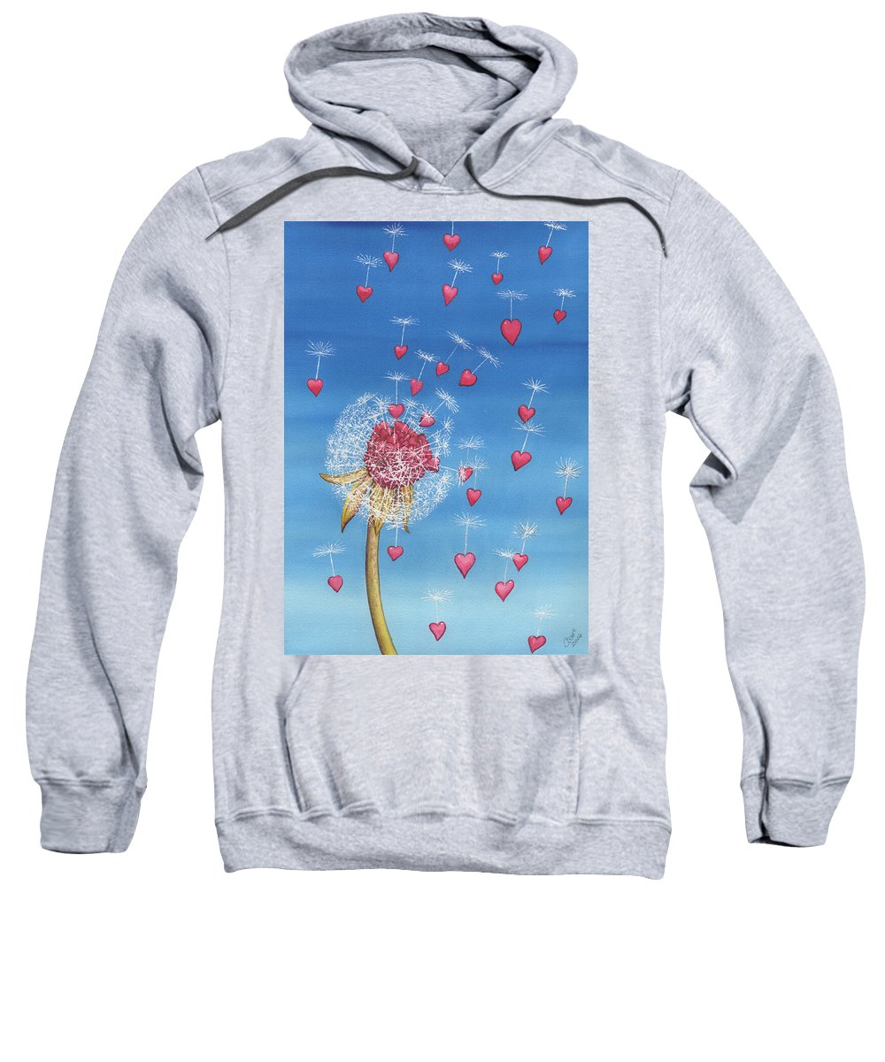 Dandelion Sweatshirt featuring the painting Just, a breath away by Catherine G McElroy