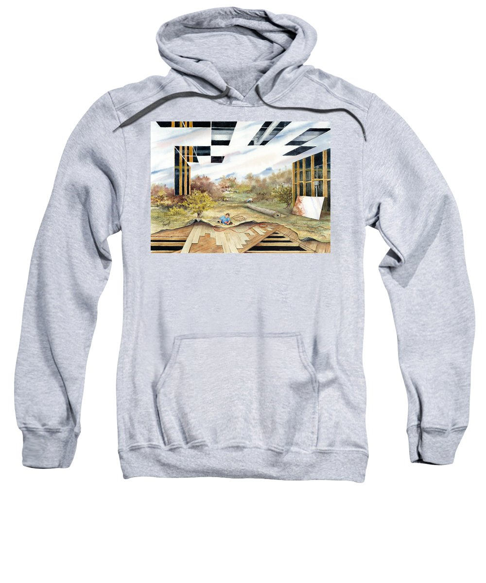 Landscape Sweatshirt featuring the painting Just Another Unfinished Landscape Painting by Sam Sidders