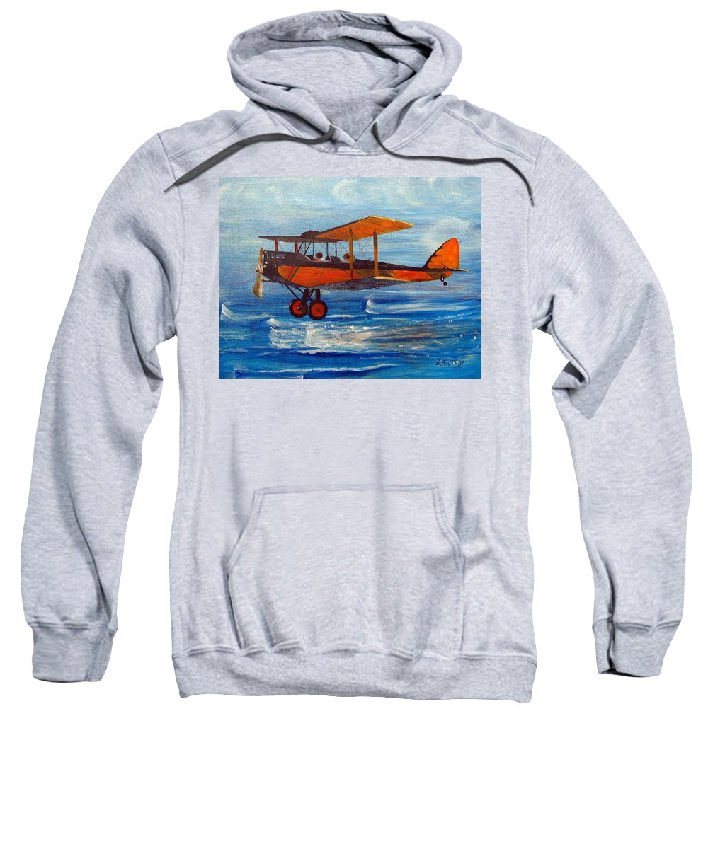 Biplane Sweatshirt featuring the painting Just Off The Water by Richard Le Page