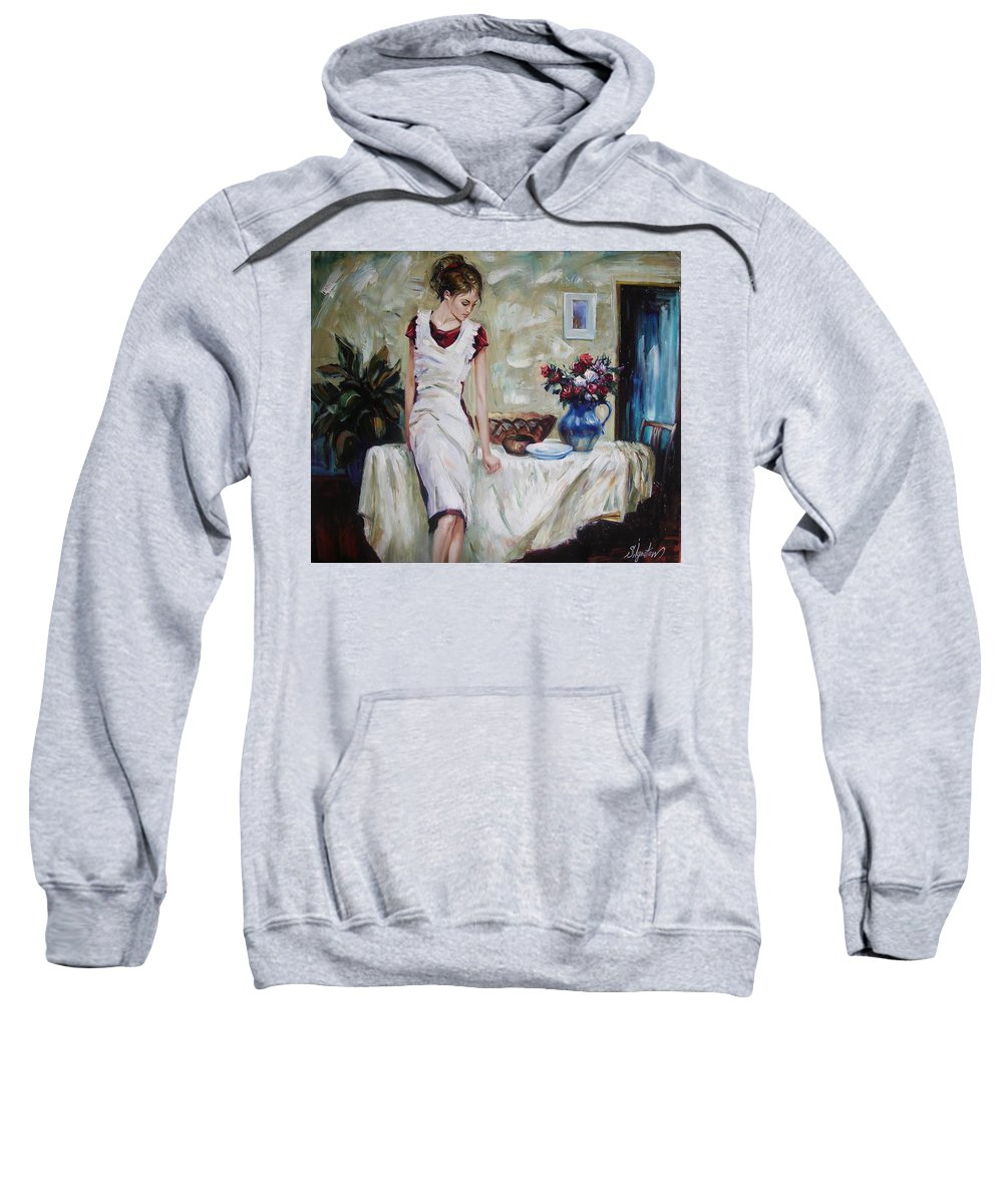 Figurative Sweatshirt featuring the painting Just The Next Day by Sergey Ignatenko