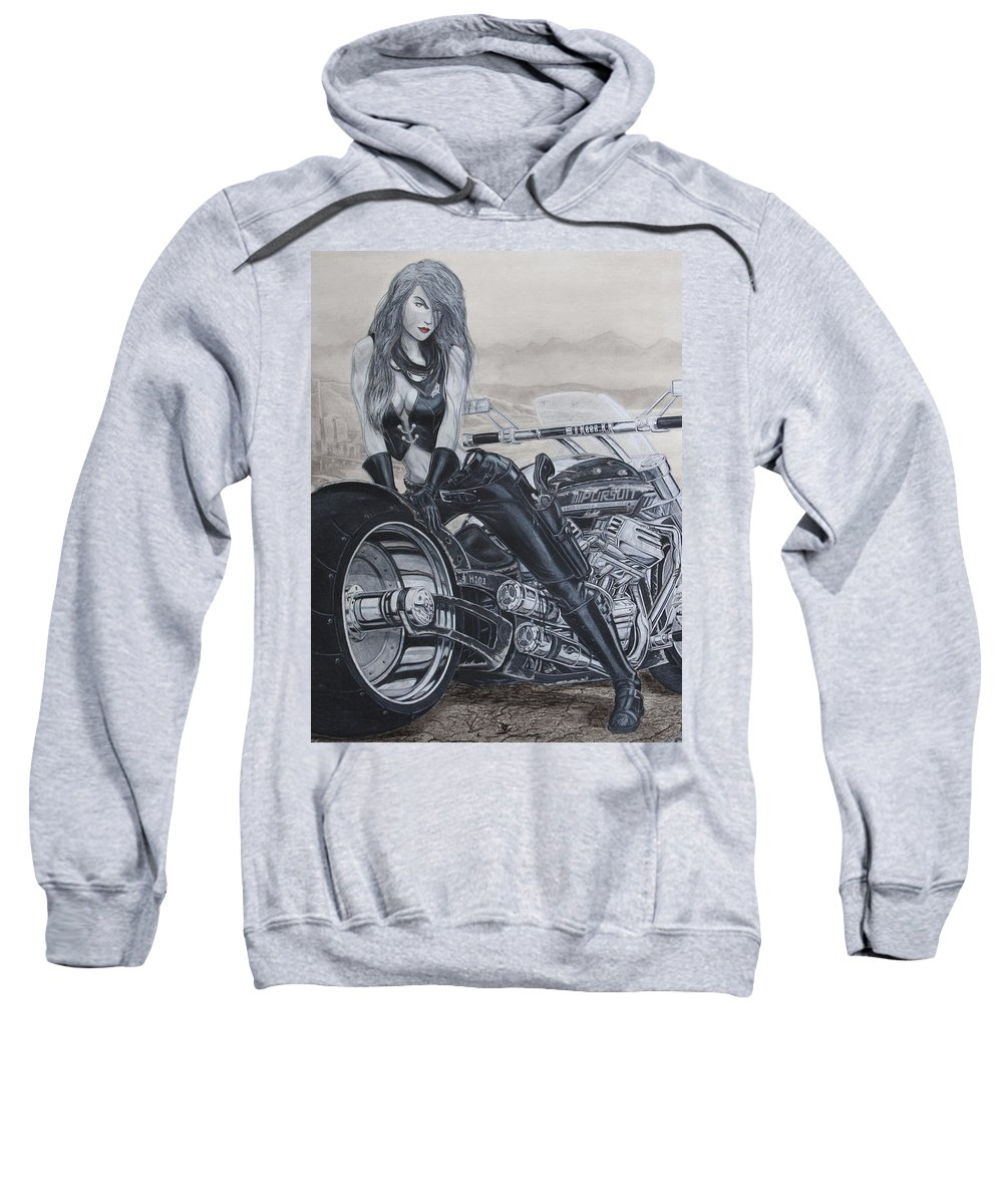 #bike Sweatshirt featuring the drawing Justice by Kristopher VonKaufman