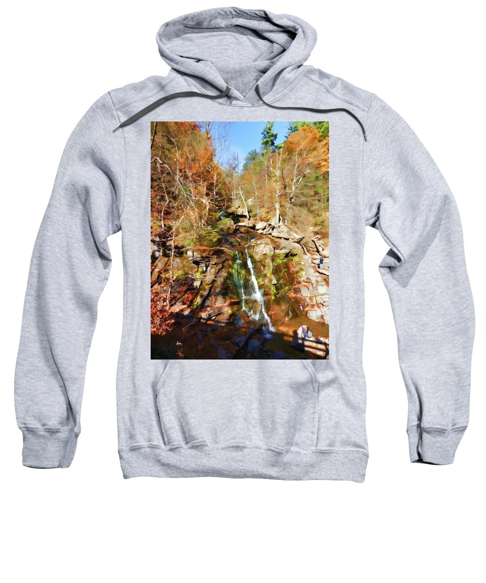 Landmark Sweatshirt featuring the painting Flows Down The Cliff by Jeelan Clark