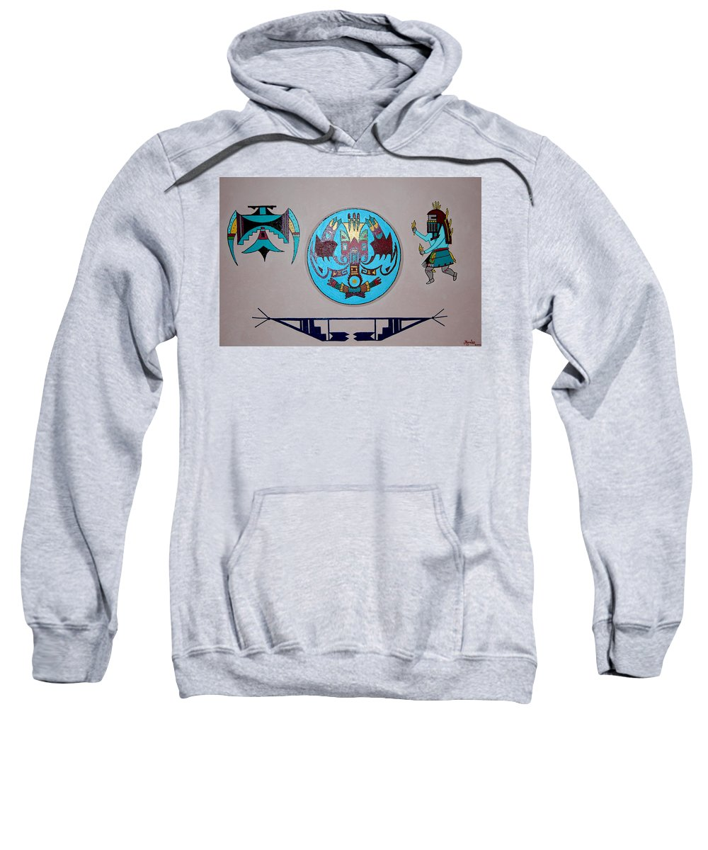 Native American Art Sweatshirt featuring the painting Kachina Dance by Marco Morales