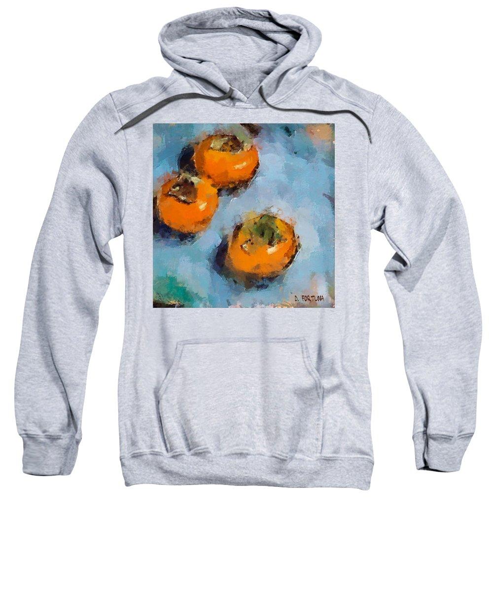 Kaki. Fruits Sweatshirt featuring the painting Kaki by Dragica Micki Fortuna