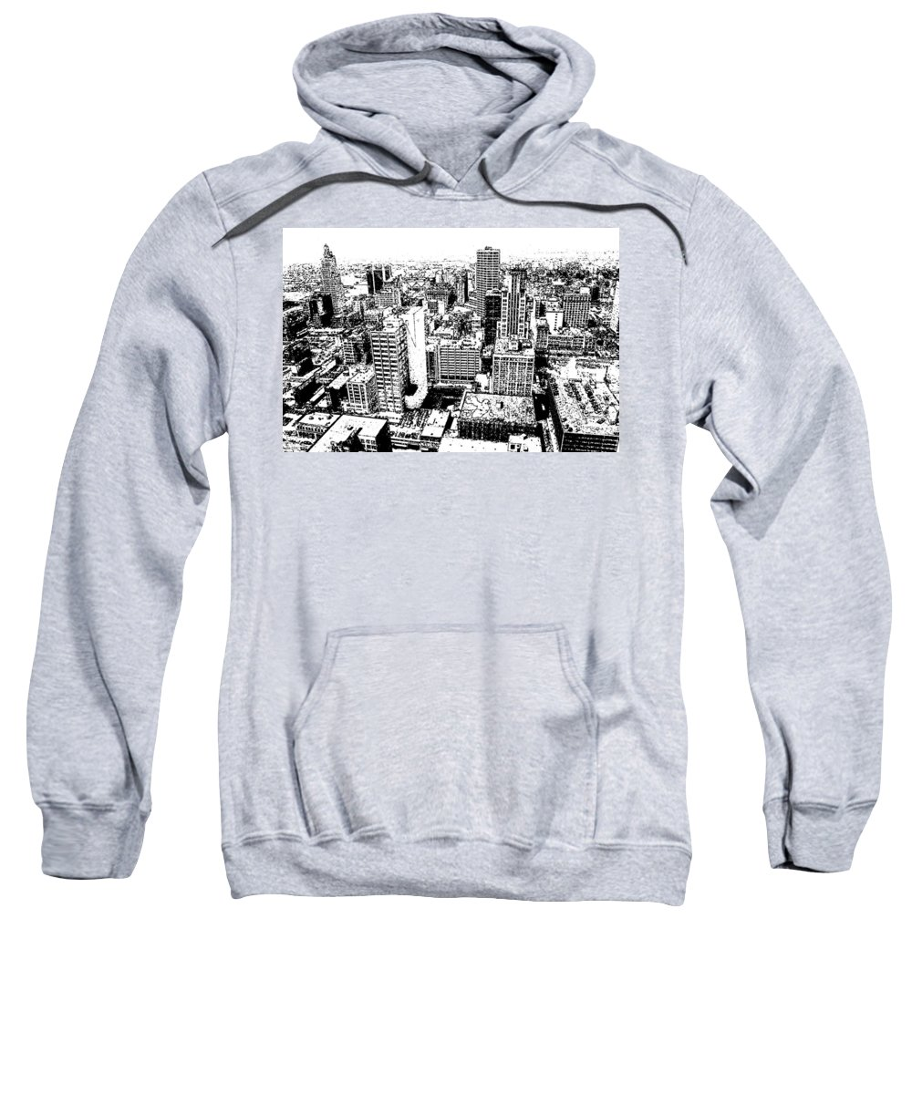 Kansas_city Sweatshirt featuring the drawing Kansas City Skyline - Ink by Peter Potter