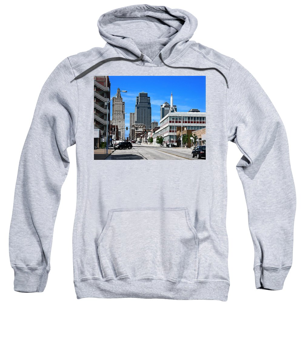City Scape Sweatshirt featuring the photograph Kansas City Cross Roads by Steve Karol