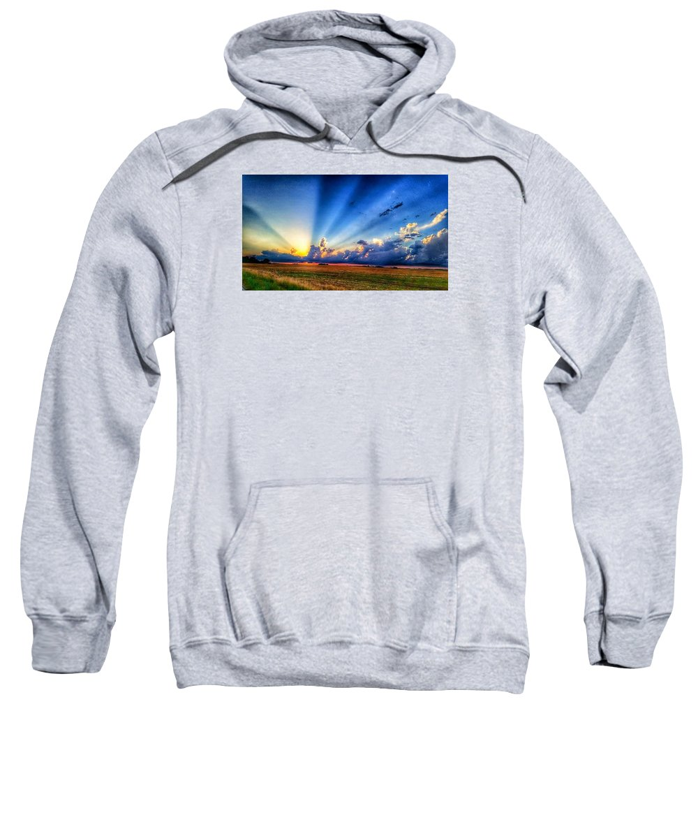 Sweatshirt featuring the photograph Kansas Country Sunset by Tim Clark