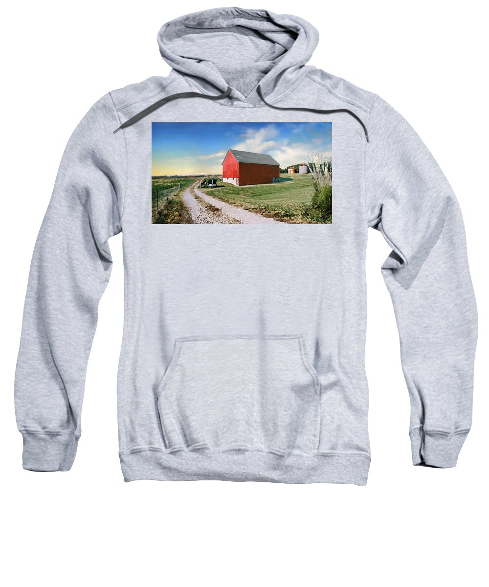 Barn Sweatshirt featuring the painting Kansas Landscape II by Steve Karol