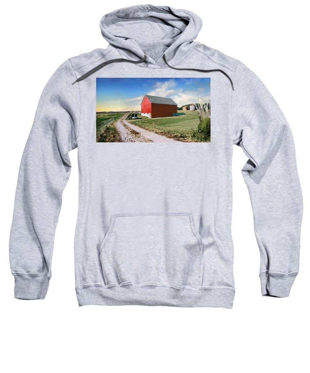 Barn Sweatshirt featuring the photograph Kansas landscape II by Steve Karol