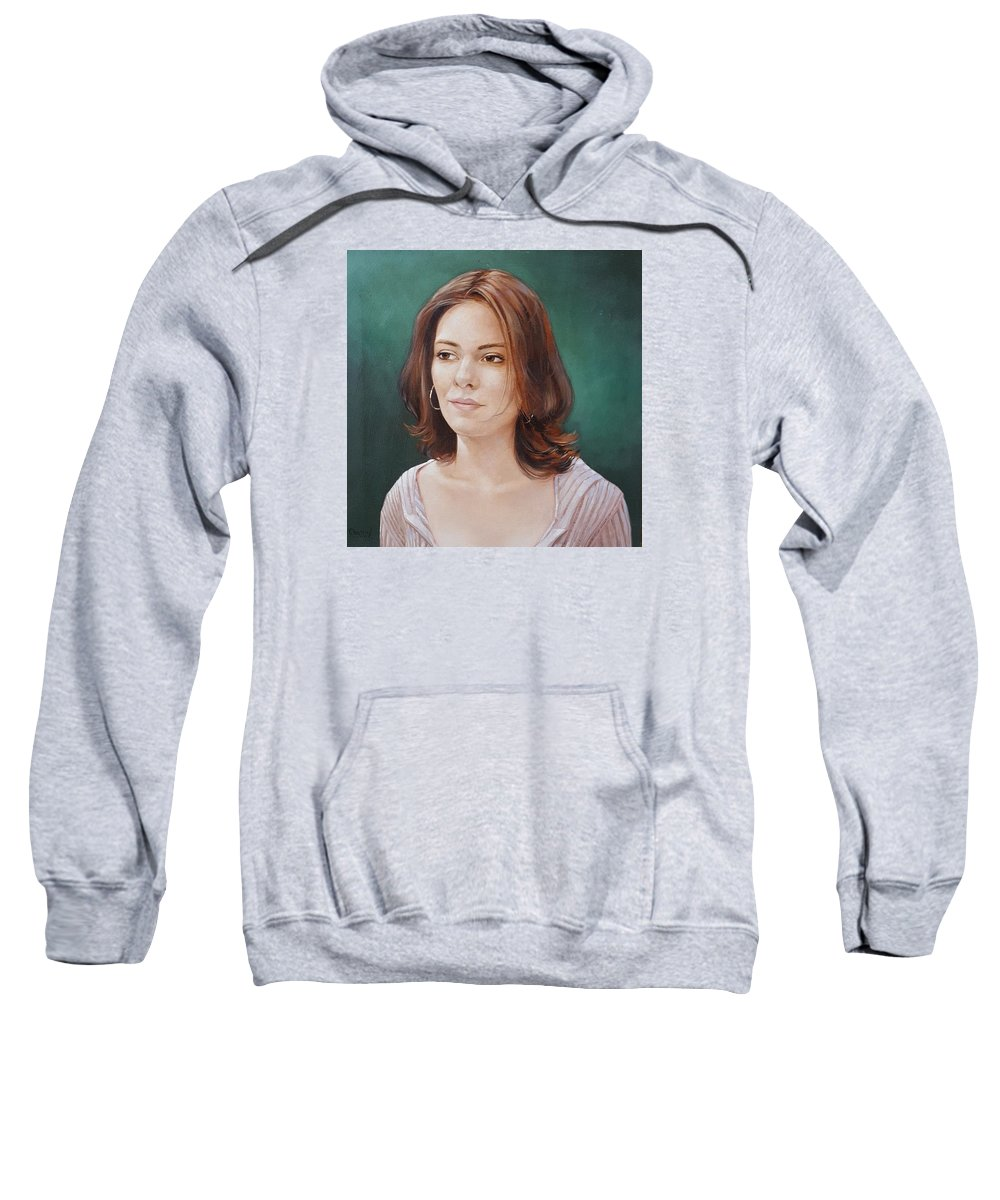 Portrait Of A Beautiful Young Lady Sweatshirt featuring the painting Karissa Bishop by Jerrold Carton