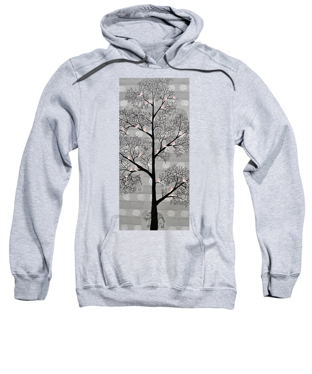 Treescape Sweatshirt featuring the painting Karvabham by Sumit Mehndiratta