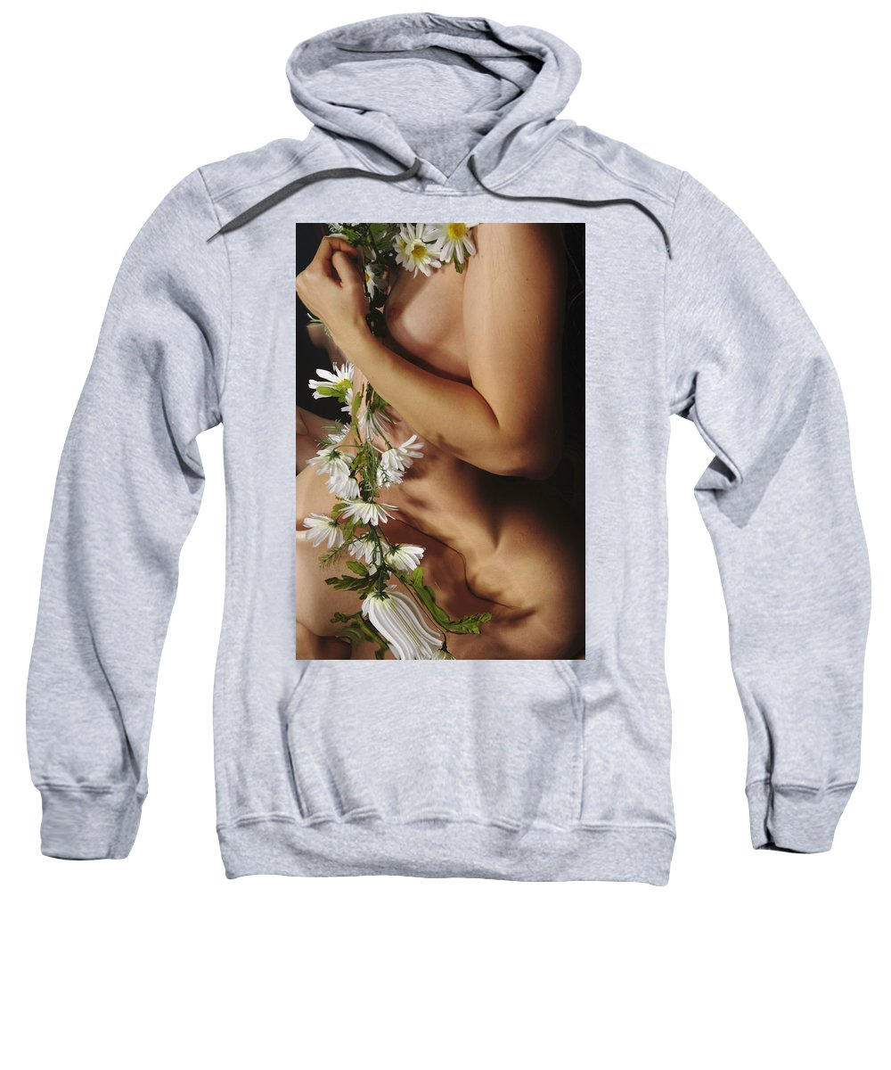 Female Nude Abstract Mirrors Flowers Photographs Sweatshirt featuring the photograph Kazi1142 by Henry Butz