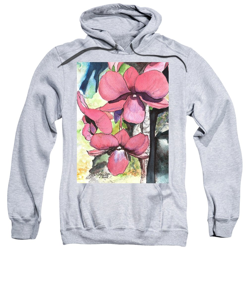 Orchid Sweatshirt featuring the painting Kiahuna Orchids by Marionette Taboniar