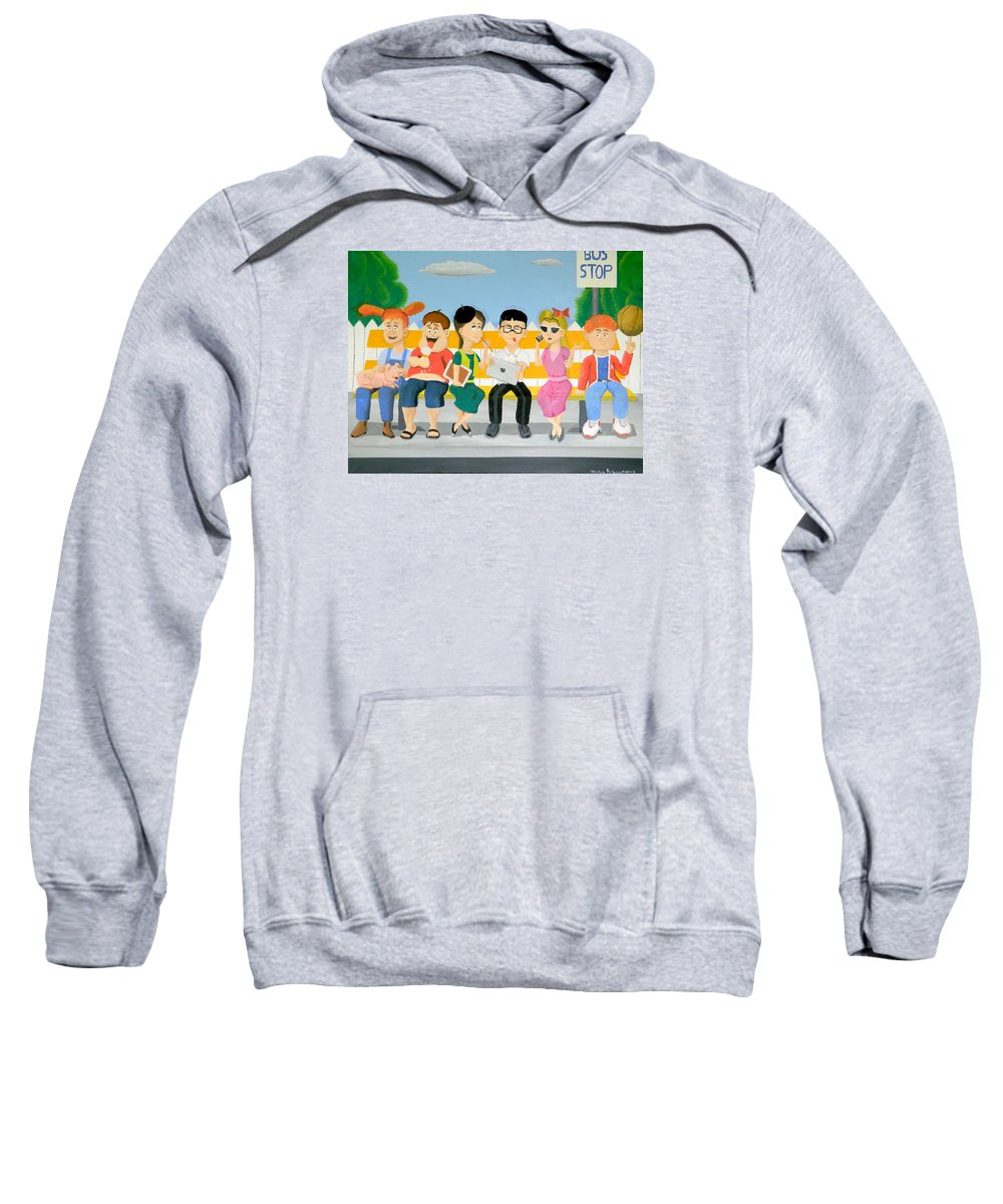 Kids At The Bus Stop Sweatshirt featuring the painting Kids At The Bus Stop by Winton Bochanowicz