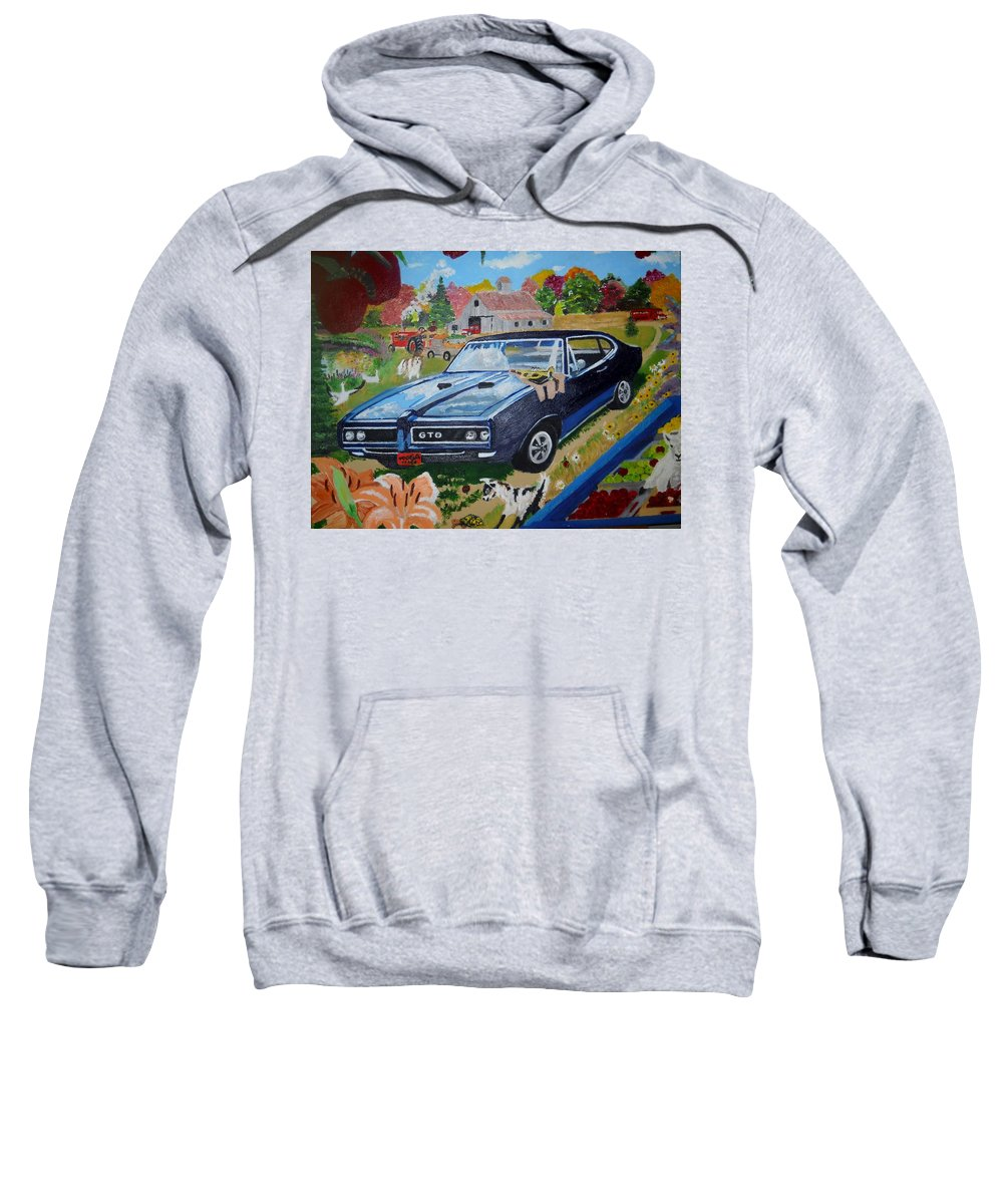 Gto Sweatshirt featuring the painting Kids,country And Old Goats by Tom Levine