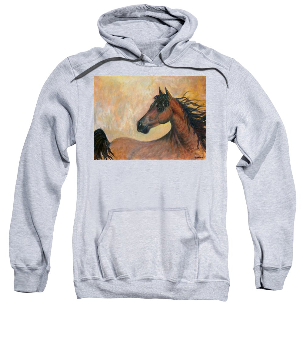 Horse Sweatshirt featuring the painting Kiger Mustang by Ben Kiger