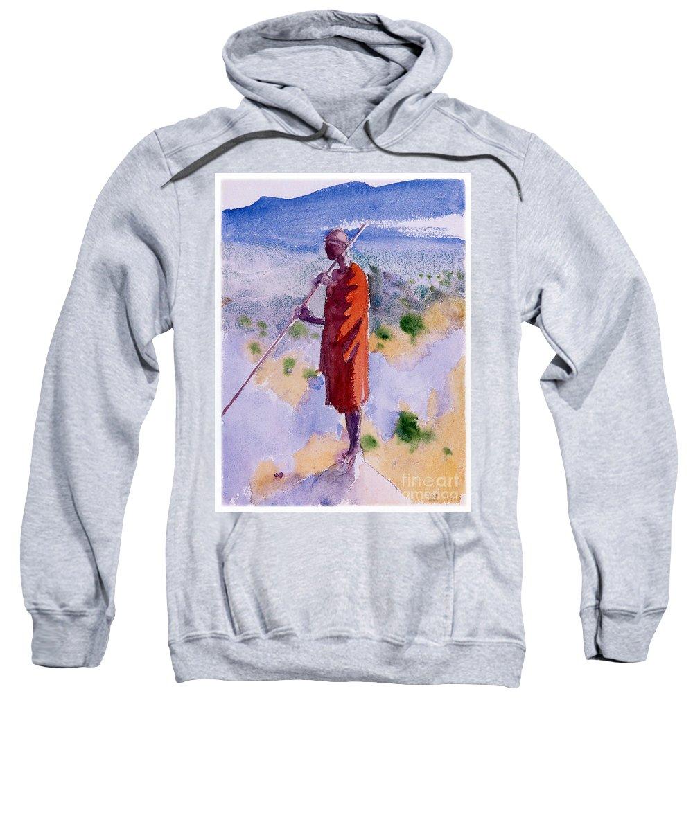 Akseli Gallen-kallela Sweatshirt featuring the painting Kikuyu In A Red Cloak by Celestial Images