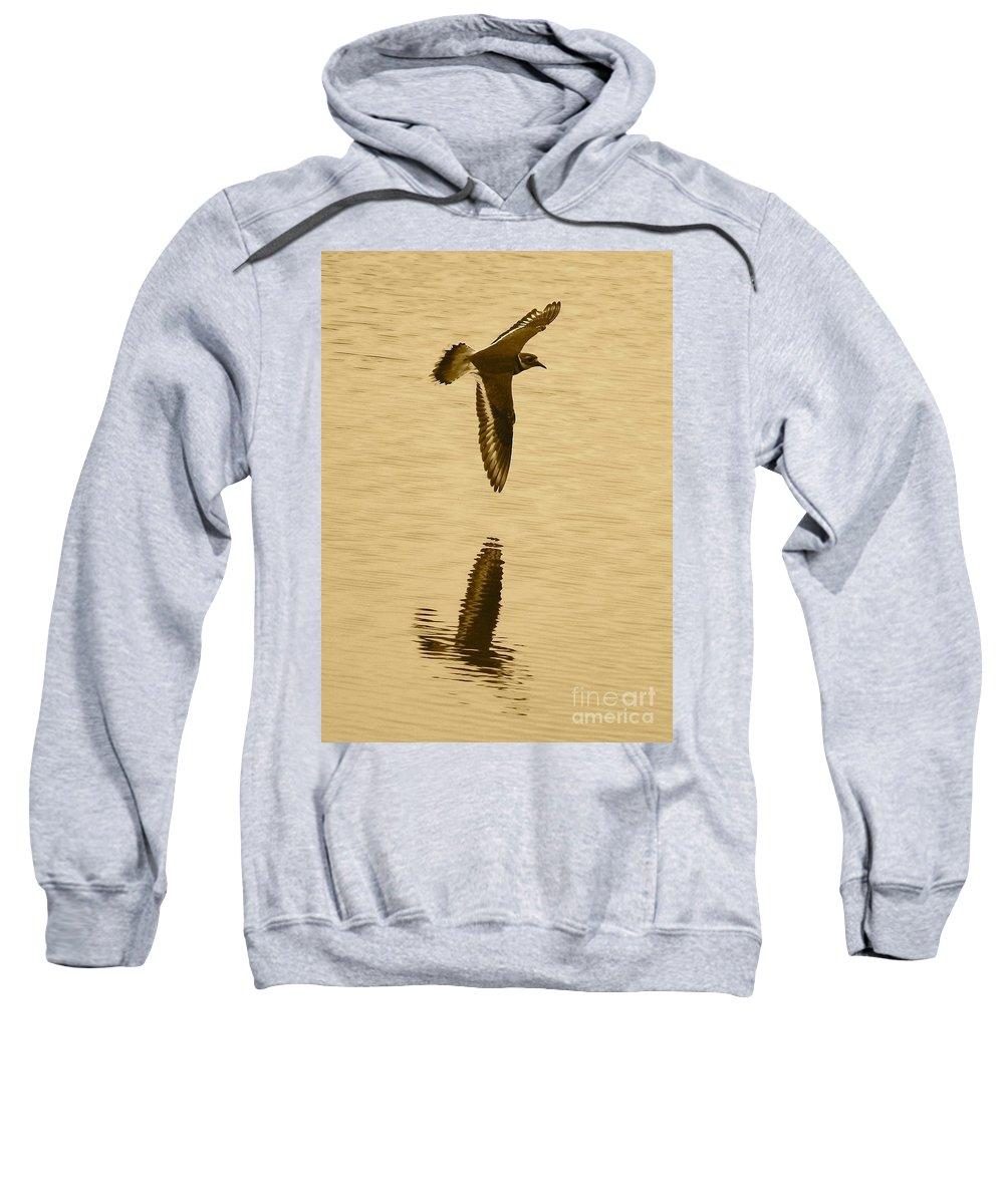 Killdeer Sweatshirt featuring the photograph Killdeer Over The Pond by Carol Groenen