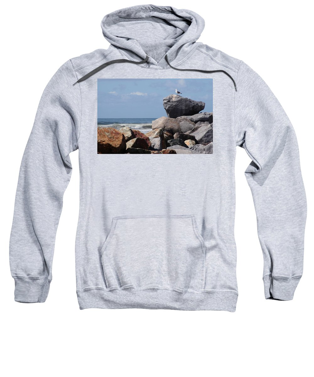 Beach Sweatshirt featuring the photograph King Of The Rocks by Margie Wildblood