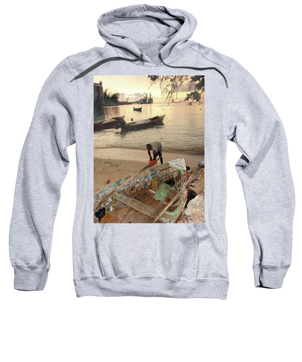 Kingston Sweatshirt featuring the photograph Kingston Jamaica Beach by Brett Winn