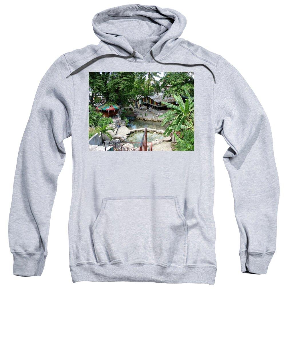 Kingston Sweatshirt featuring the photograph Kingston Jamaica Plaza by Brett Winn