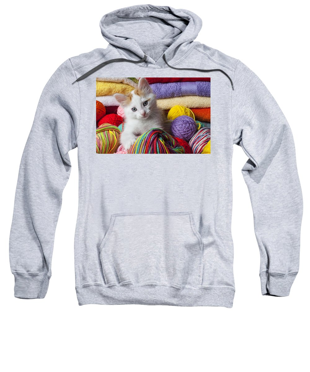 White Sweatshirt featuring the photograph Kitten In Yarn by Garry Gay