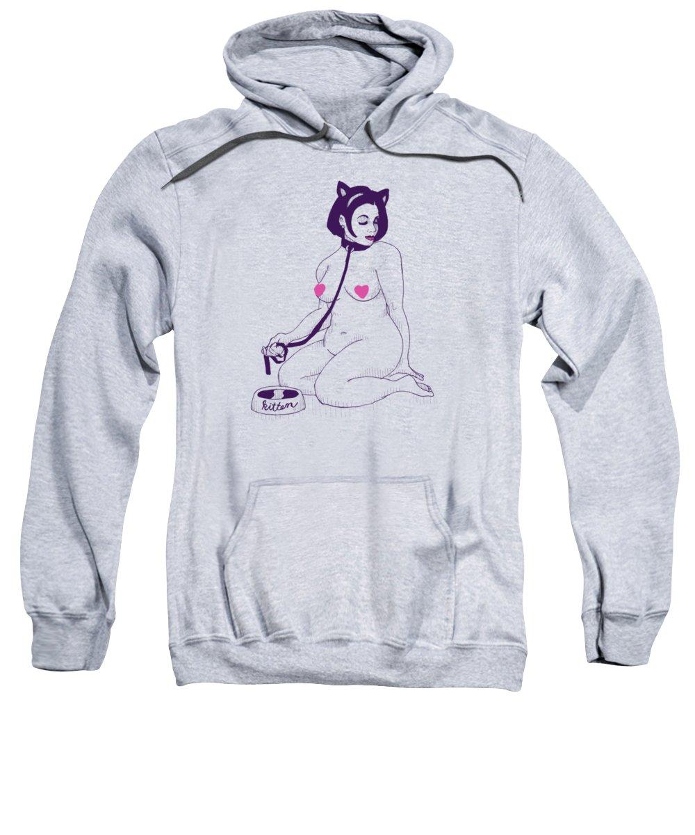 Kitten Sweatshirt featuring the drawing Kitten by Ludwig Van Bacon