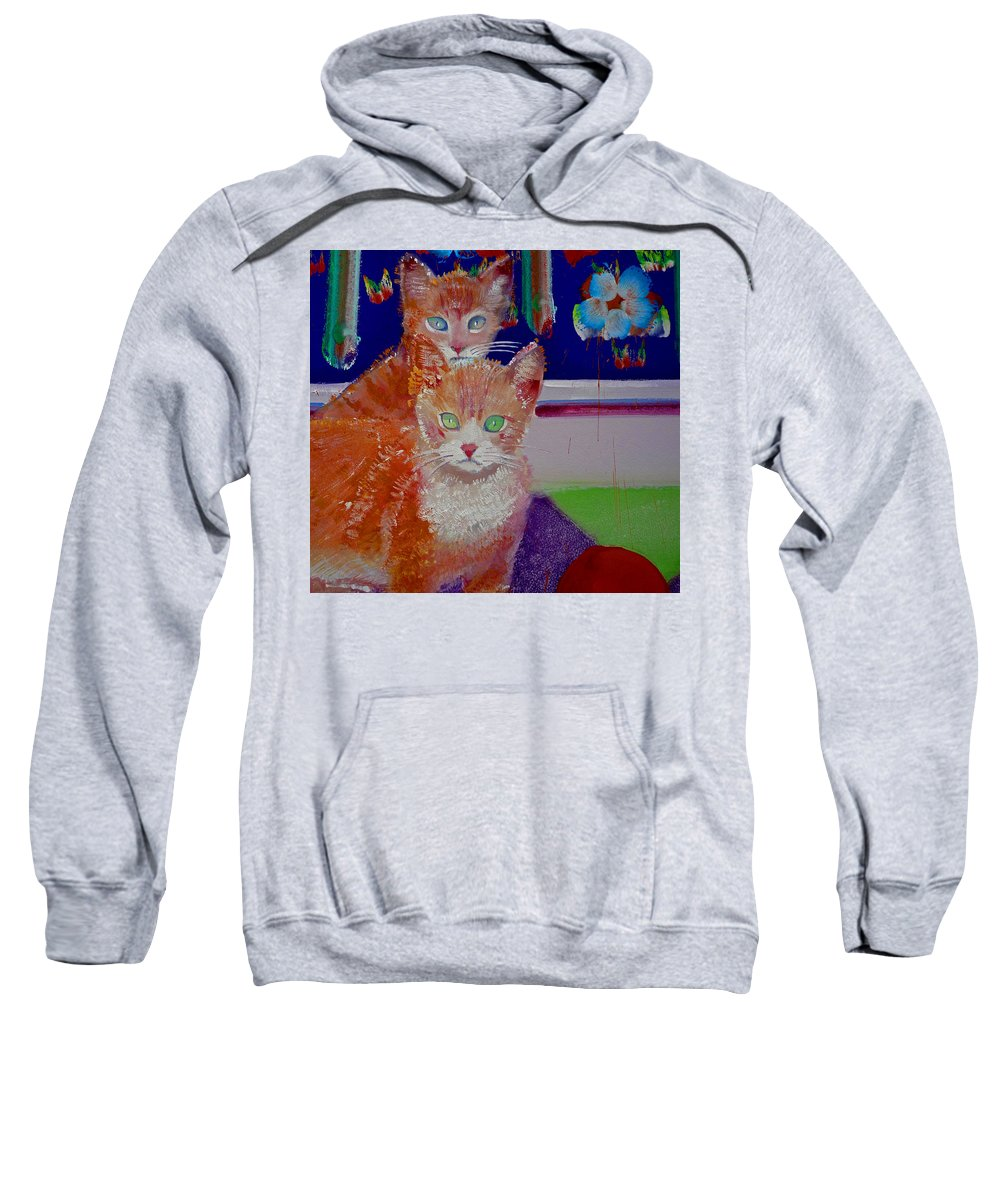 Kittens Sweatshirt featuring the painting Kittens With Wild Wallpaper by Charles Stuart