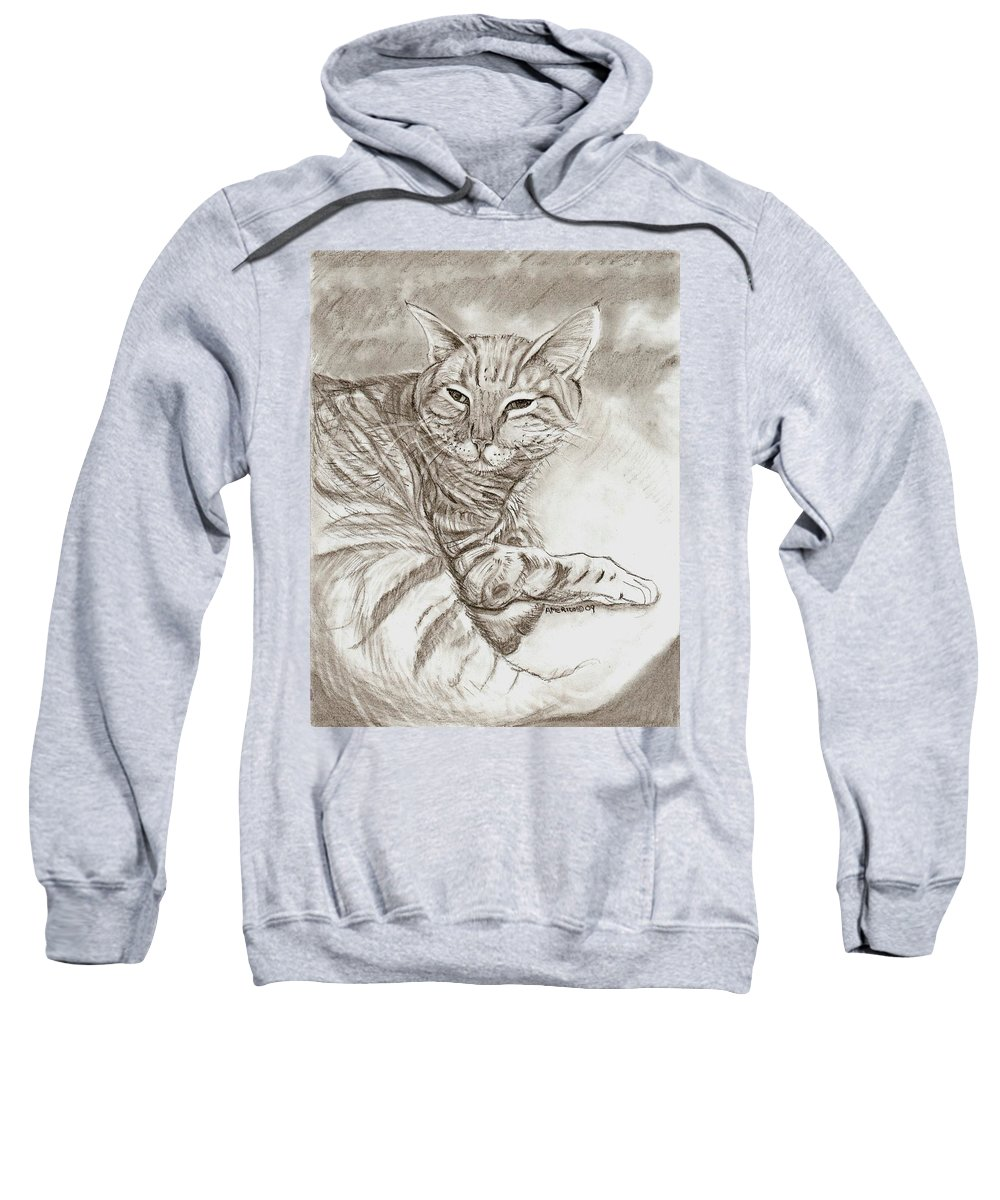Cat Sweatshirt featuring the drawing Kitty Cat by Americo Salazar