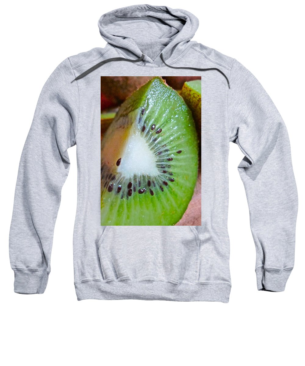 Photograph Of Kiwi Sweatshirt featuring the photograph Kiwi Seed Display by Gwyn Newcombe