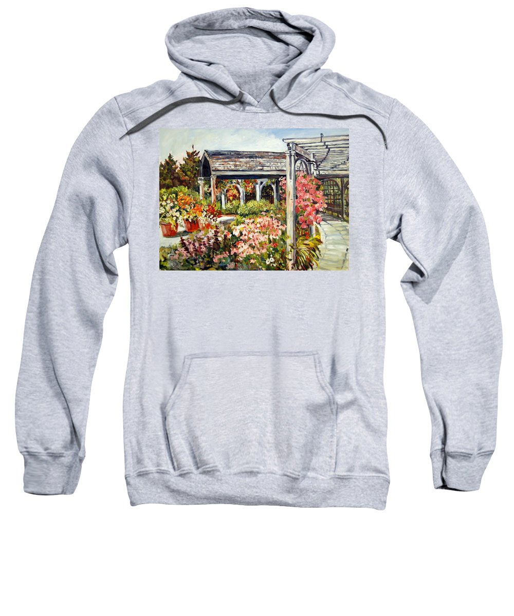 Landscape Sweatshirt featuring the painting Klehm Arboretum I by Alexandra Maria Ethlyn Cheshire