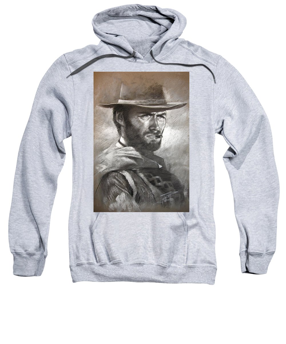 Portrait Sweatshirt featuring the drawing Klint Eastwood by Ylli Haruni