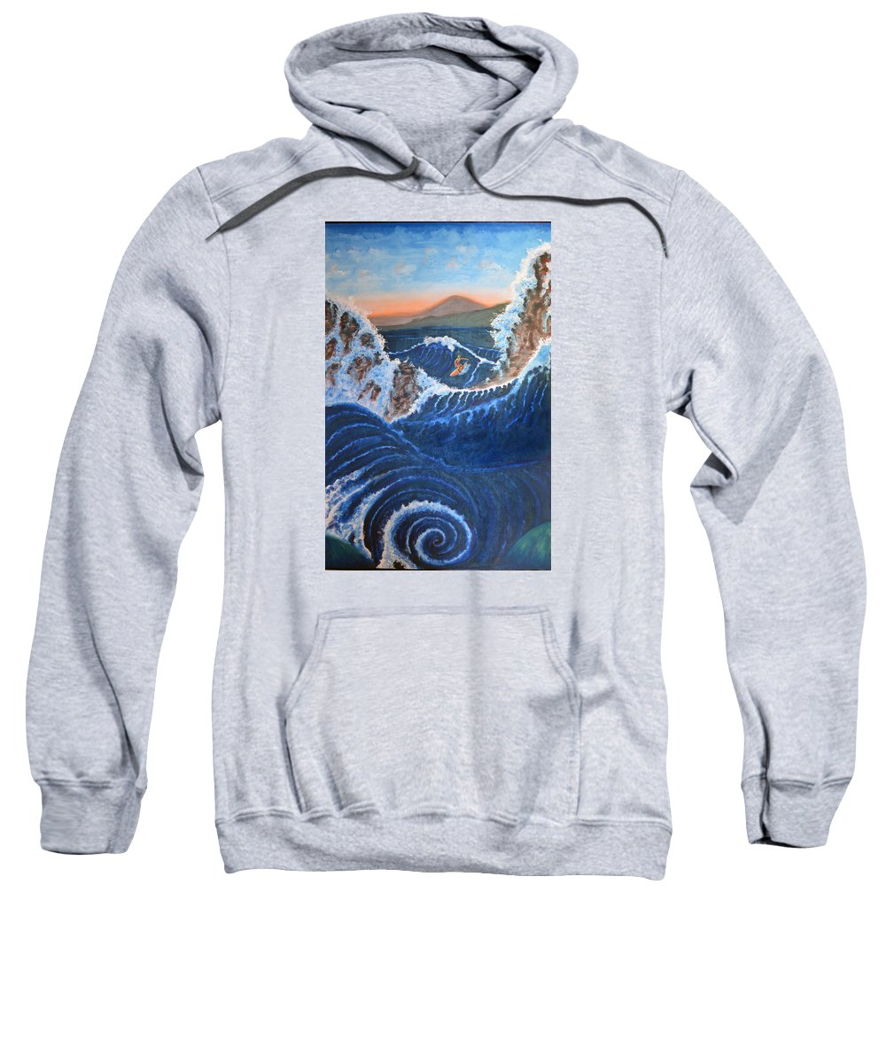 Surfing Sweatshirt featuring the painting Knee Deep by Cliff Welty