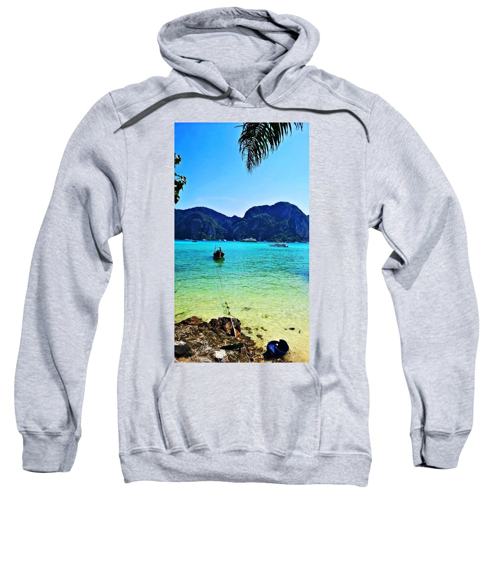 Boat Sweatshirt featuring the photograph Koh Phi Phi by Jeremy Egrd