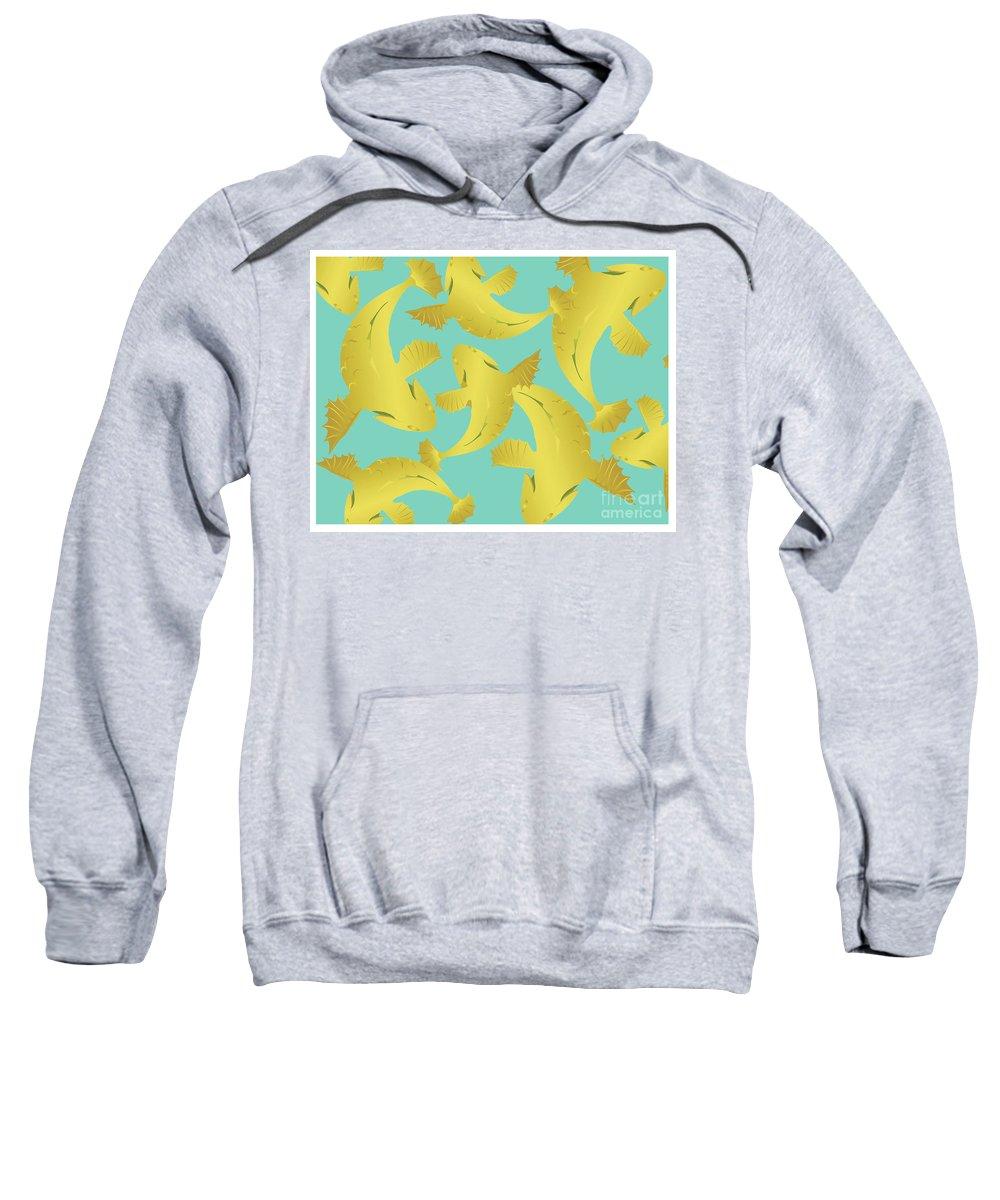 Koi Fish Sweatshirt featuring the digital art Koi Fish Sage - Lemon by Joni Warden