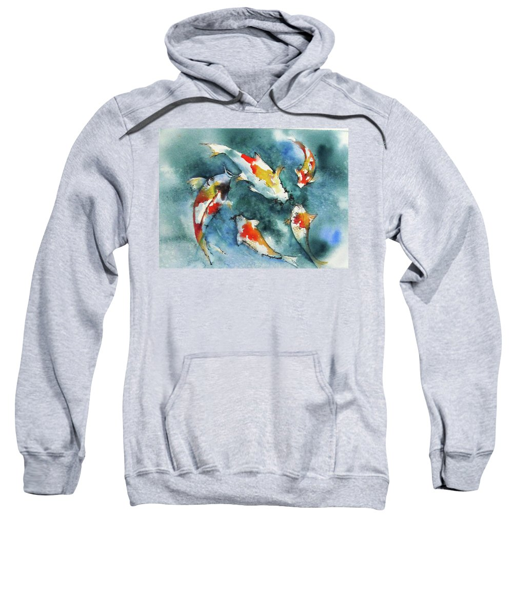Fish Sweatshirt featuring the painting Koi Jewels by Gina Hall
