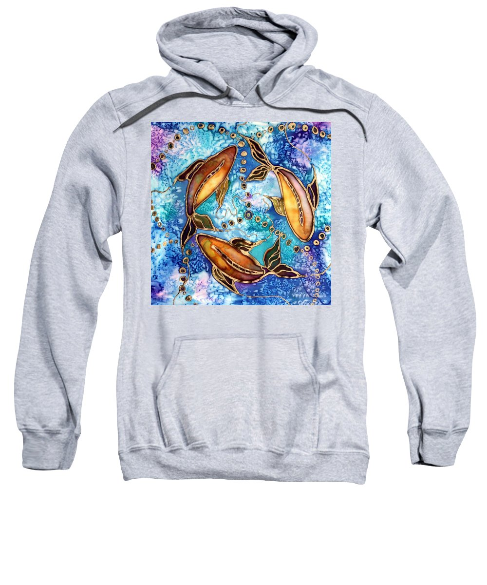 Koi Sweatshirt featuring the painting Koiful by Pat Purdy