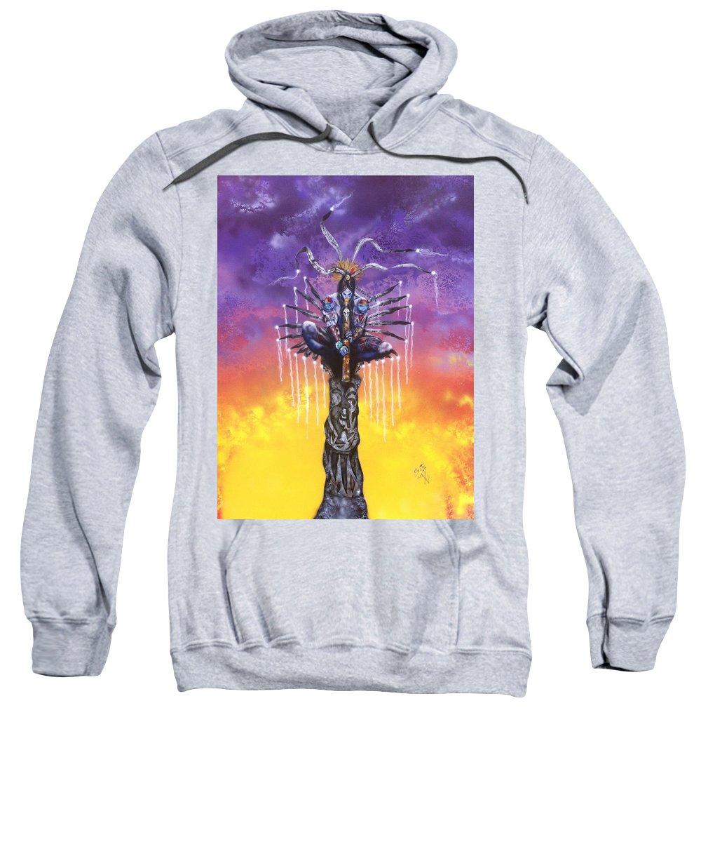 Kokopelli Sweatshirt featuring the painting Kokopelli by Mike Smith